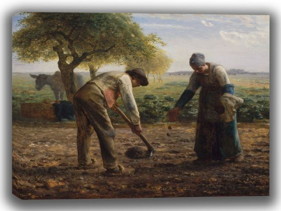 Millet, Jean-François: Potato Planters. Fine Art Canvas. Sizes: A4/A3/A2/A1 (00108)